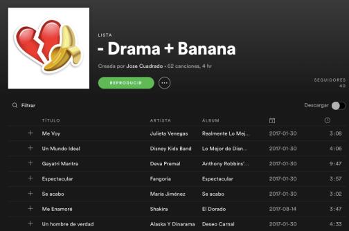 Track list Spotify Menos drama y Más Banana