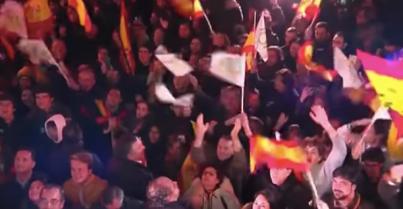 Simpatizantes de vox en la sede de Madrid la noche del 10N